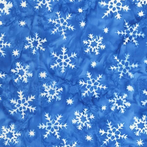 Batik Snowflake on Blue